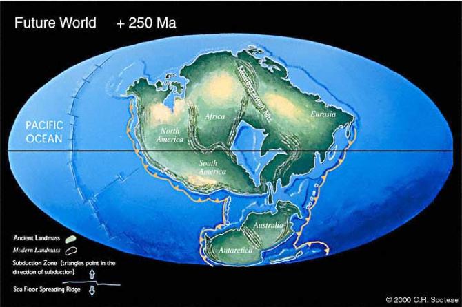 미국 연구진은 2억5000만 년 뒤에는 지구 상의 모든 대륙이 하나로 모인다는 예측을 내놨다. - 크리스토퍼 스코테스 교수 제공